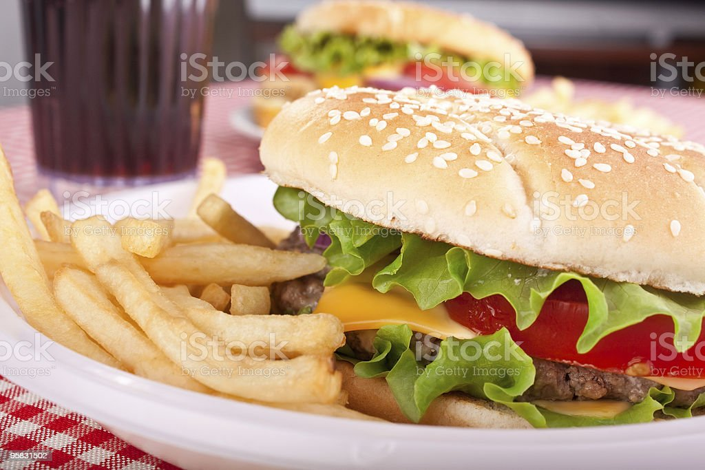 delicious cheeseburgers stock photo