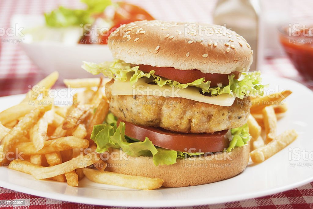 Delicious chicken burger royalty-free stock photo