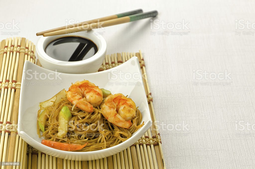 Delicious Chinese noodles with shrimps stock photo