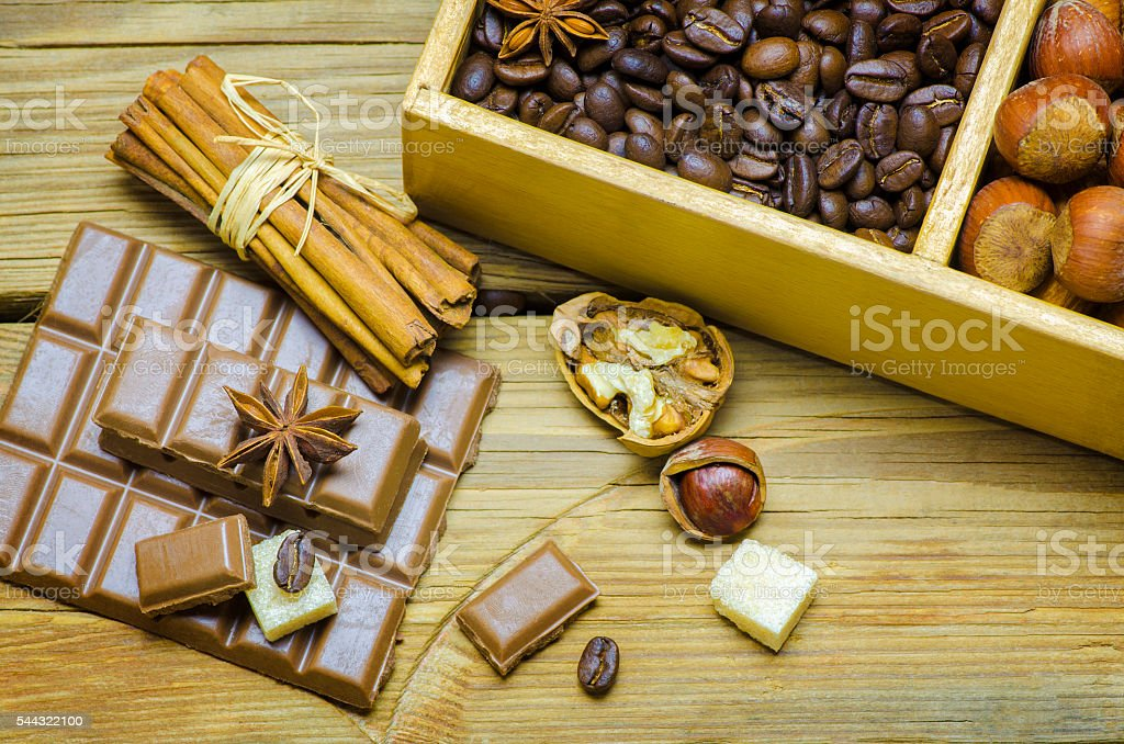 Delicious chocolate and nuts stock photo
