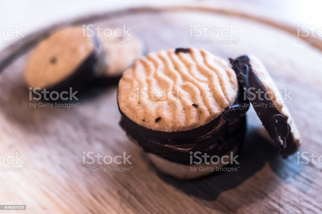 Delicious chocolate biscuits stock photo