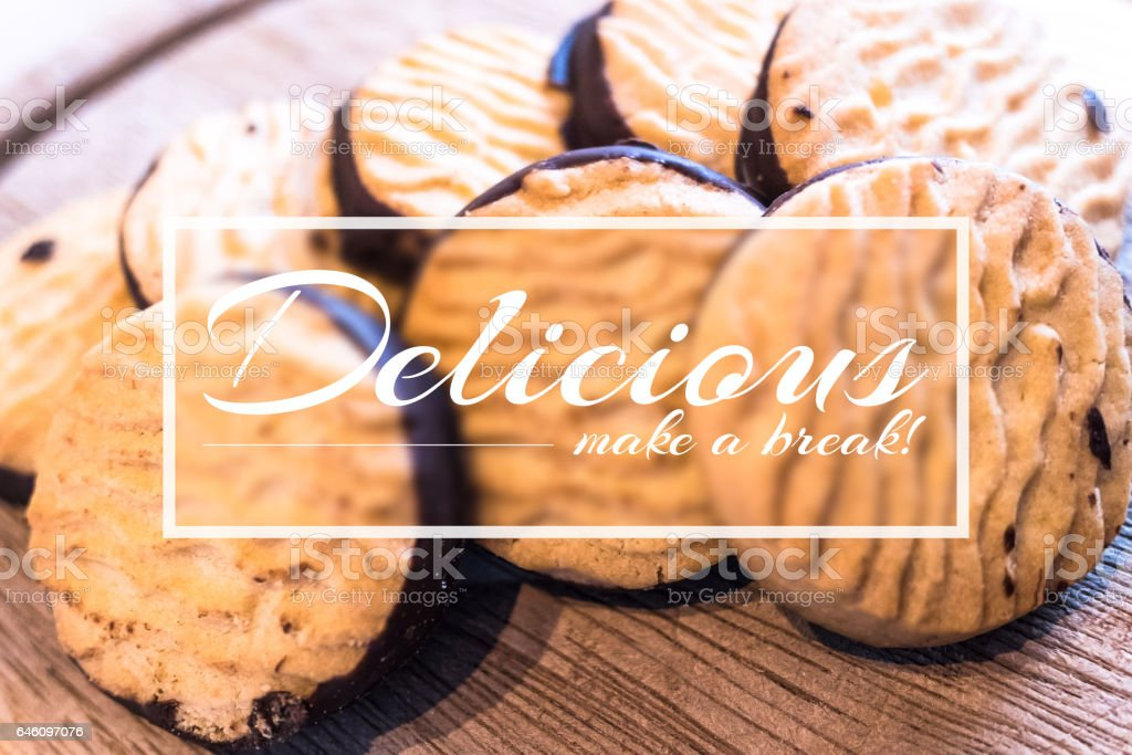 Delicious chocolate biscuits under a text stock photo