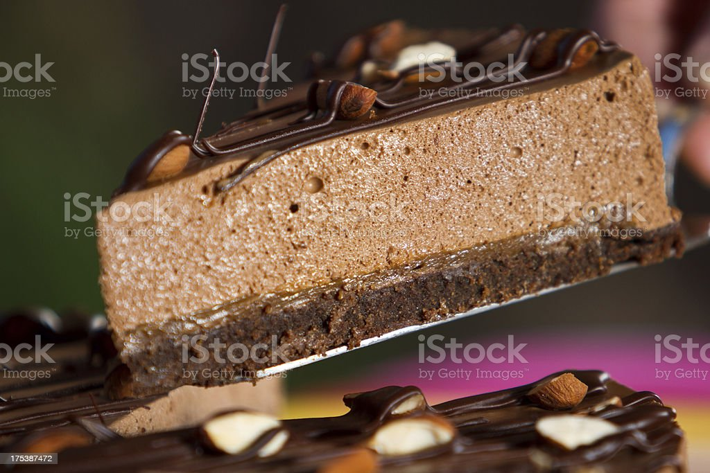 Delicious chocolate brownie and mousse dessert stock photo
