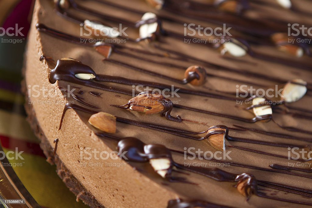 Delicious chocolate brownie and mousse dessert royalty-free stock photo
