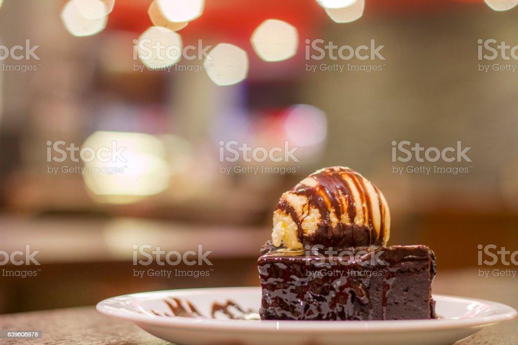 Delicious chocolate brownie vanilla ice cream stock photo