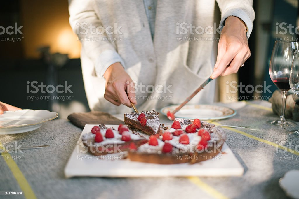 Delicious Chocolate Cake on Christmas party table stock photo