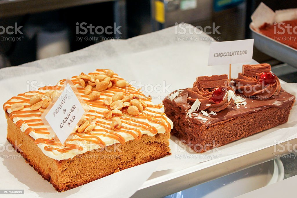 Delicious chocolate cake & peanut caramel on the cake store stock photo