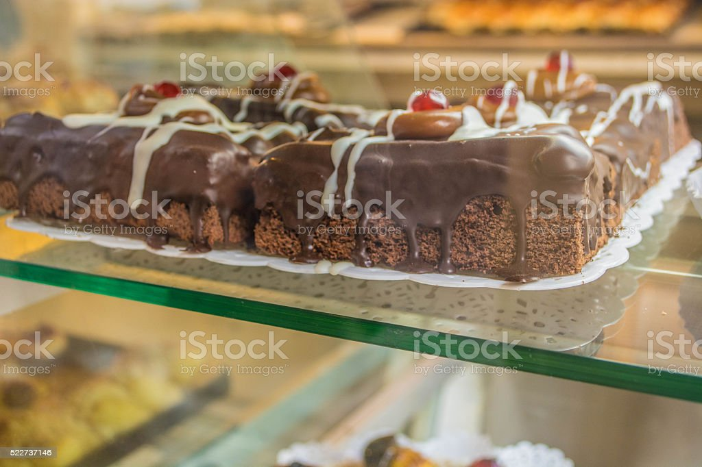 Delicious chocolate cake stock photo