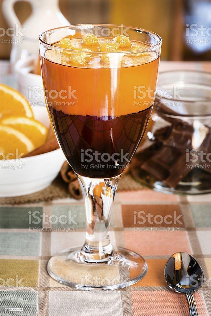 Delicious chocolate dessert with orange slices stock photo