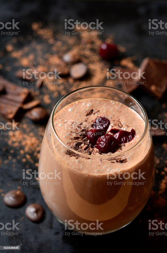 Delicious chocolate smoothie 'Black forest'. stock photo