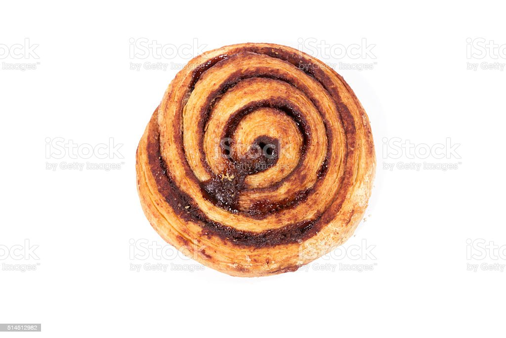 Delicious chocolate snail pastries stock photo