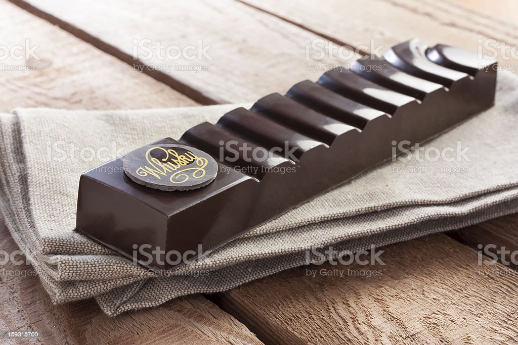 Delicious chocolate with whiskey stock photo