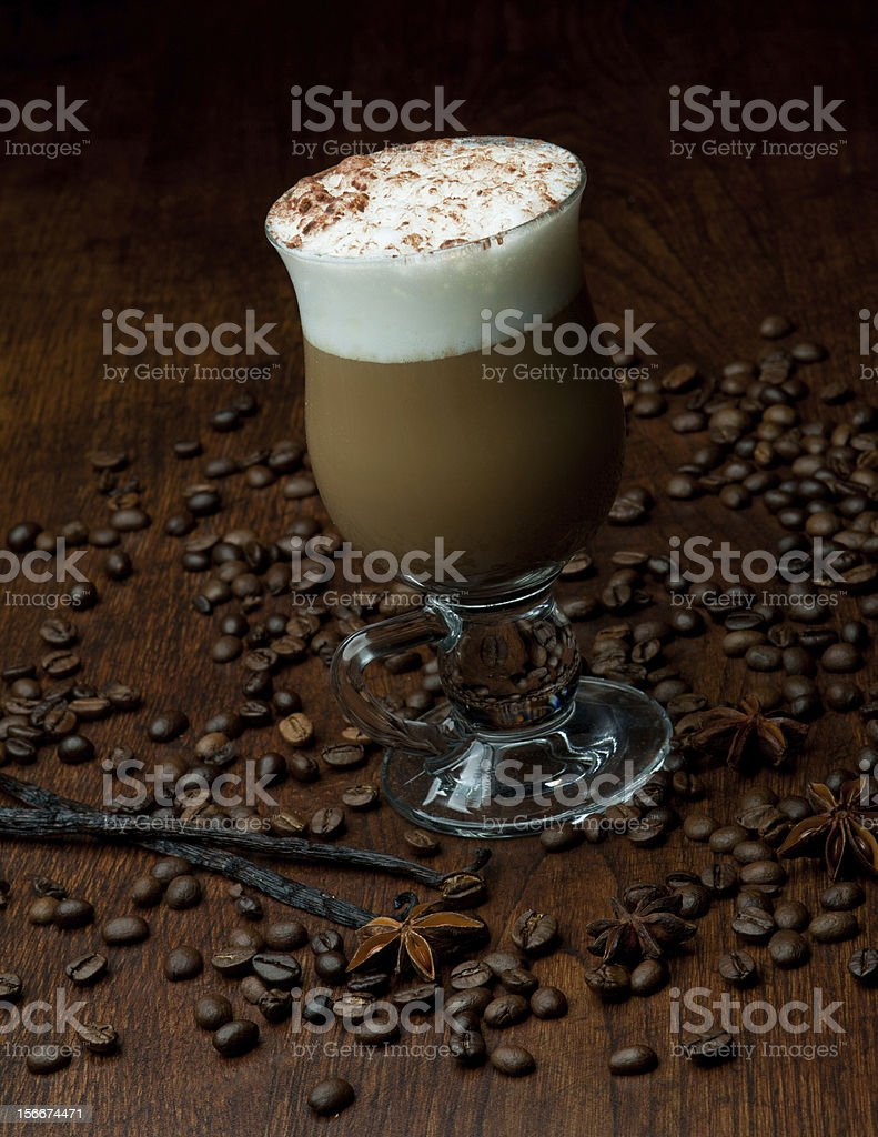 Delicious christmas coffee with aromatic spices royalty-free stock photo