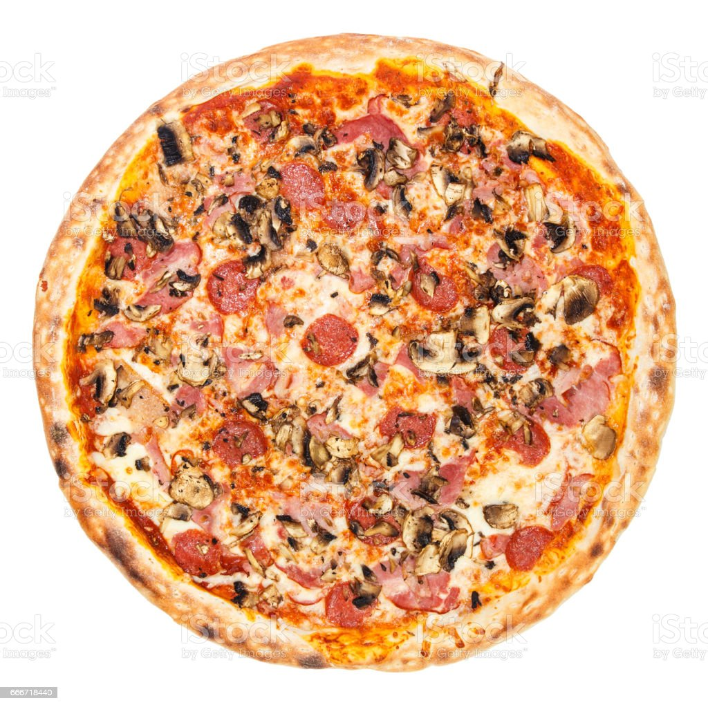 Delicious classic italian Pizza Carbonara with ham, sausages tomatoes, mushrooms and cheese stock photo