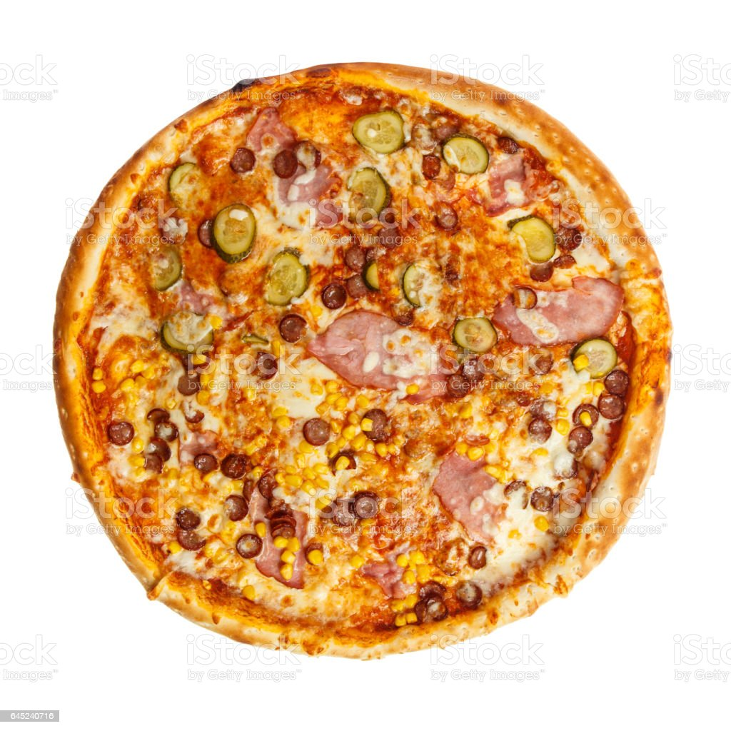 Delicious classic italian pizza with ham, sausages, corn, cucumbers and cheese stock photo