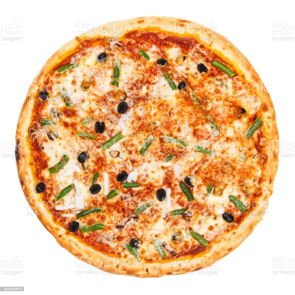 Delicious classic italian Seafood Pizza stock photo