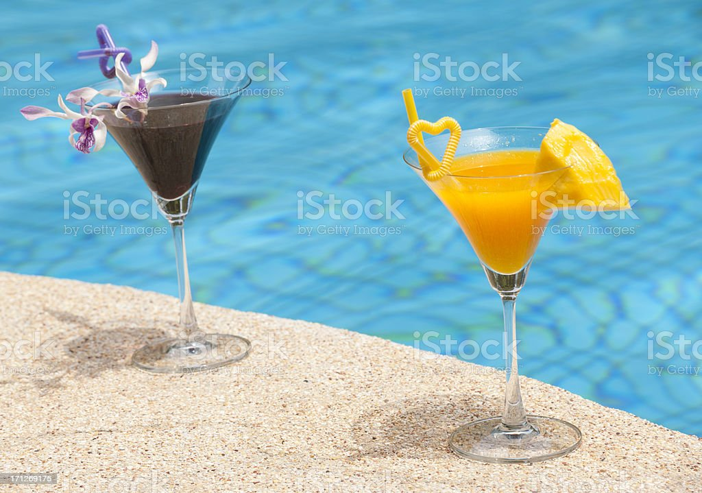 Delicious Cocktails by the Pool (XXXL) royalty-free stock photo