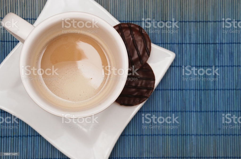 delicious coffee with milk and cookies royalty-free stock photo