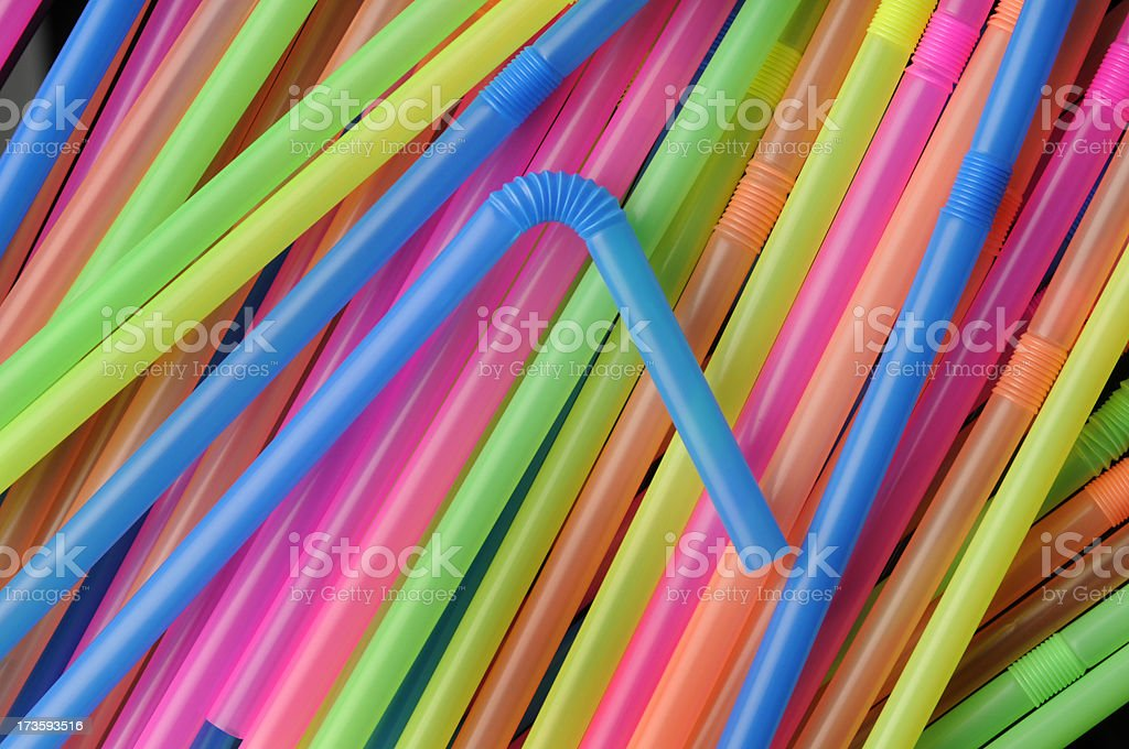 Delicious Colorful Plastic Drinking Straws; Bendable, Flexible, Disposable, Rainbow Colors royalty-free stock photo