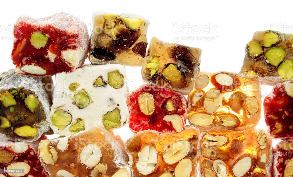 Delicious colorful Turkish delight with nuts stock photo