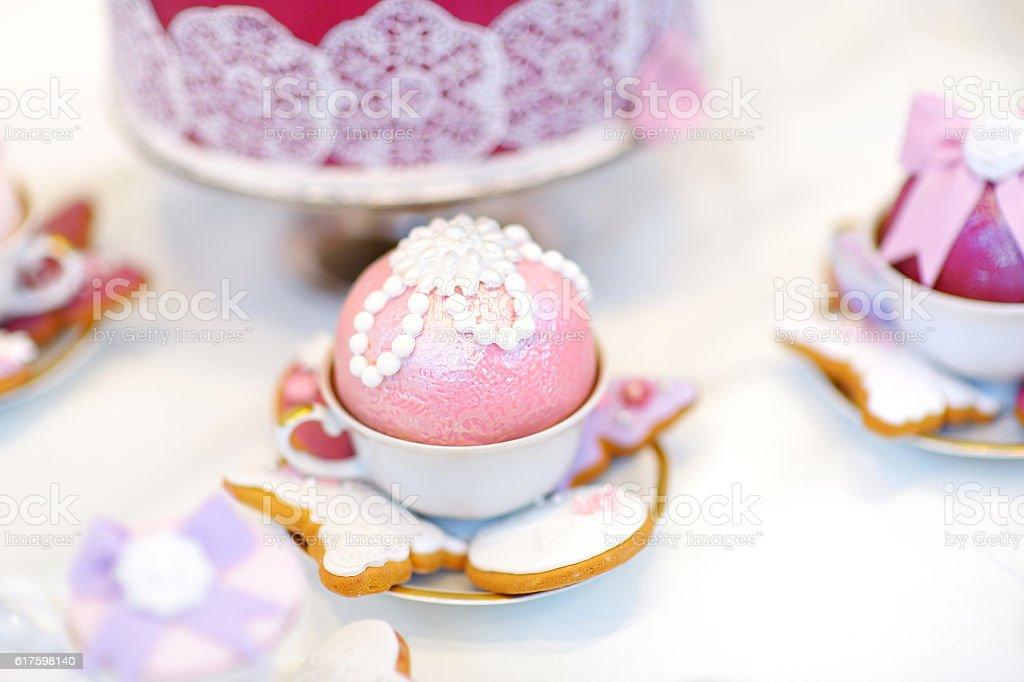 Delicious colorful wedding cupcakes stock photo