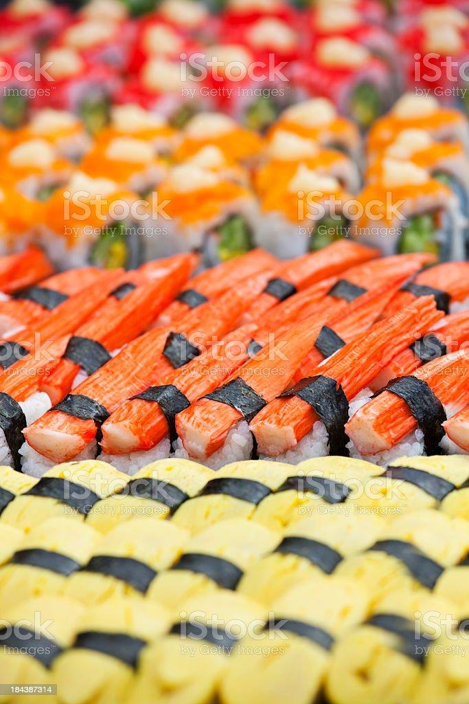 Delicious colourful sushi. stock photo