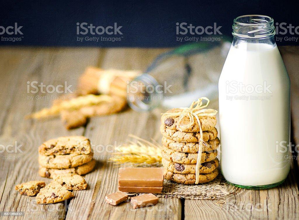 Delicious Cookies and Milk.. stock photo