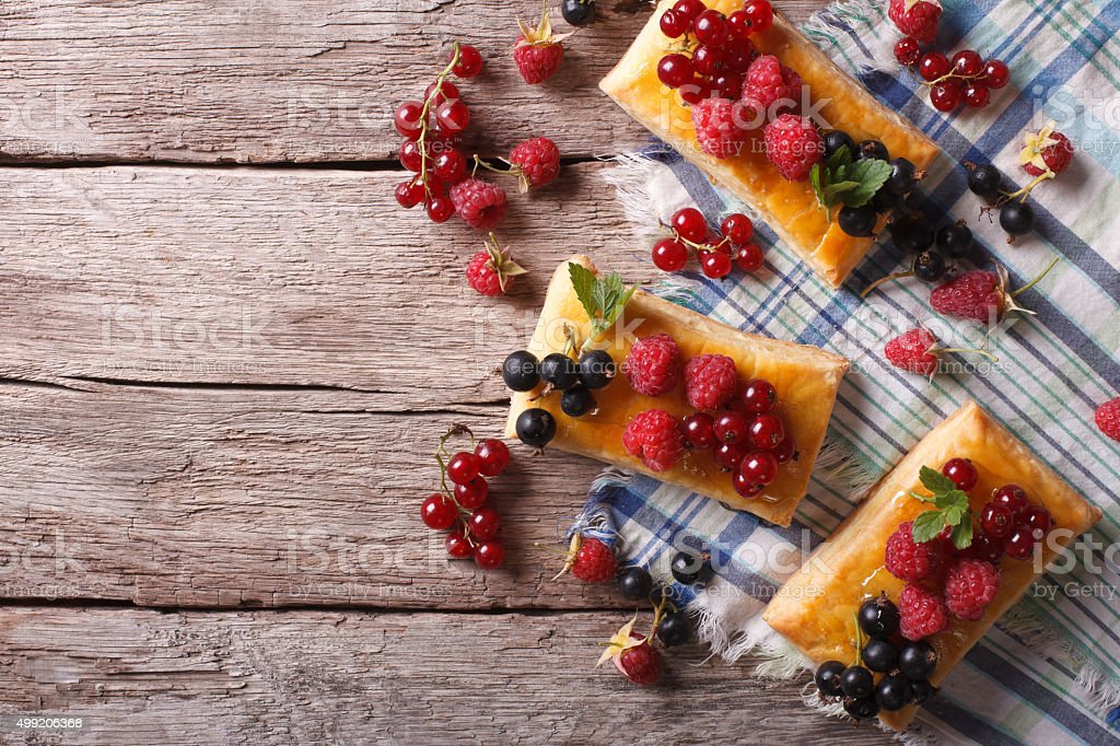 Delicious cookies with berries, honey and mint. horizontal top v stock photo