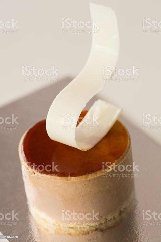 Delicious creme caramel cake stock photo