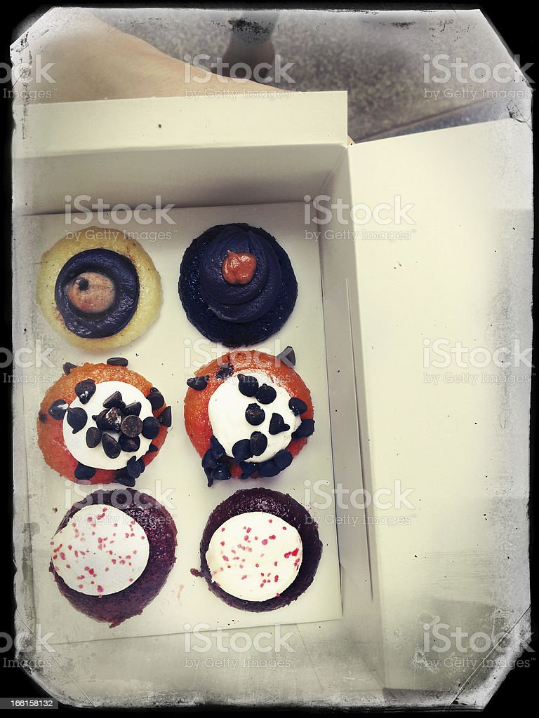 Delicious Cupcakes in a Box stock photo