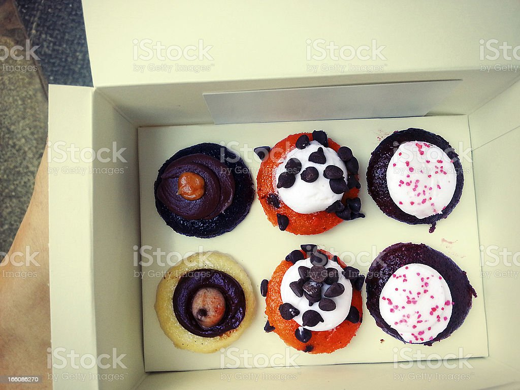 Delicious Cupcakes in a Box Vintage stock photo