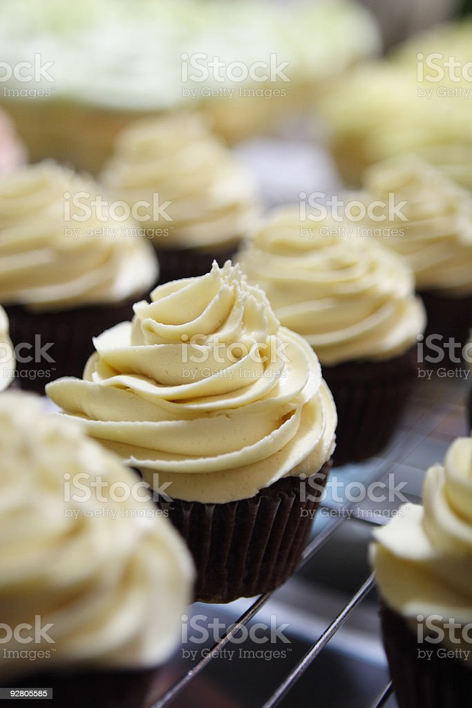Delicious cupcakes on metal rack royalty-free stock photo