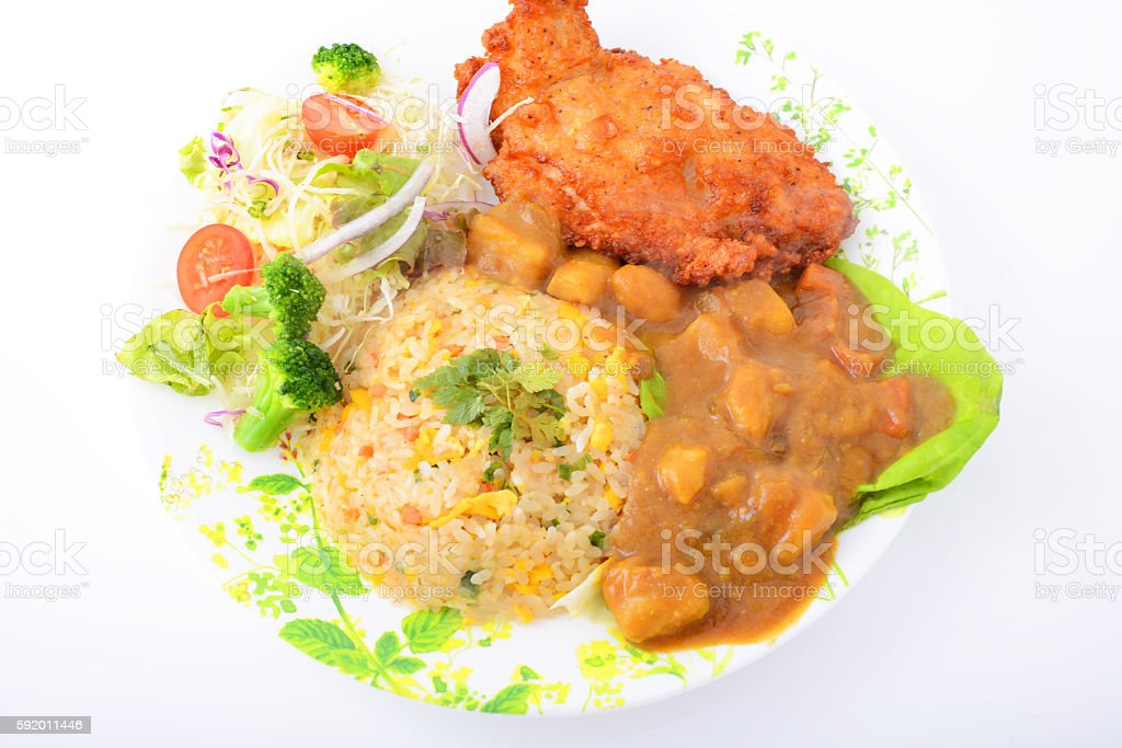 Delicious curry and rice stock photo