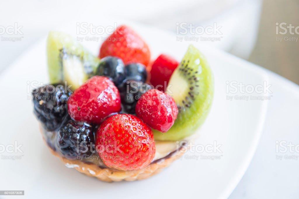 delicious custard tart with mix fruit stock photo