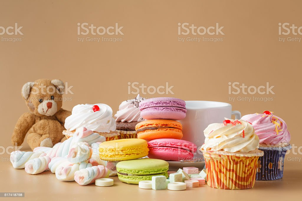 delicious dessert table for big party stock photo