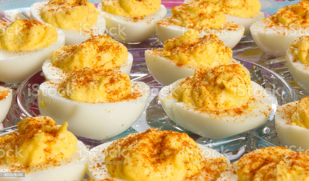 Delicious Deviled Eggs stock photo