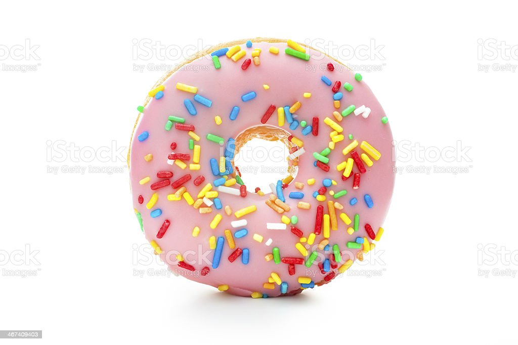 Delicious donut with sprinkles stock photo