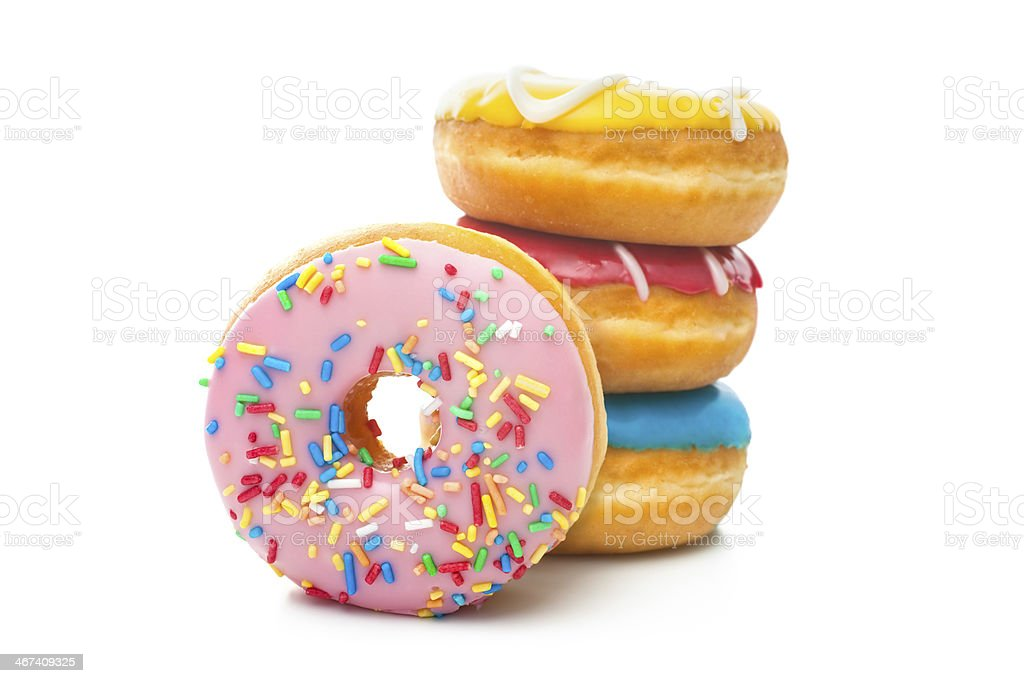 Delicious donuts with sprinkles stock photo