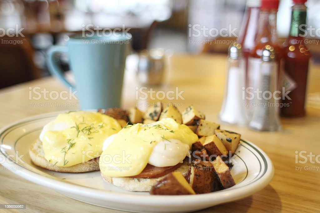 Delicious eggs benedict royalty-free stock photo