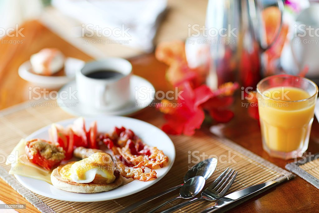 Delicious eggs served for breakfast royalty-free stock photo