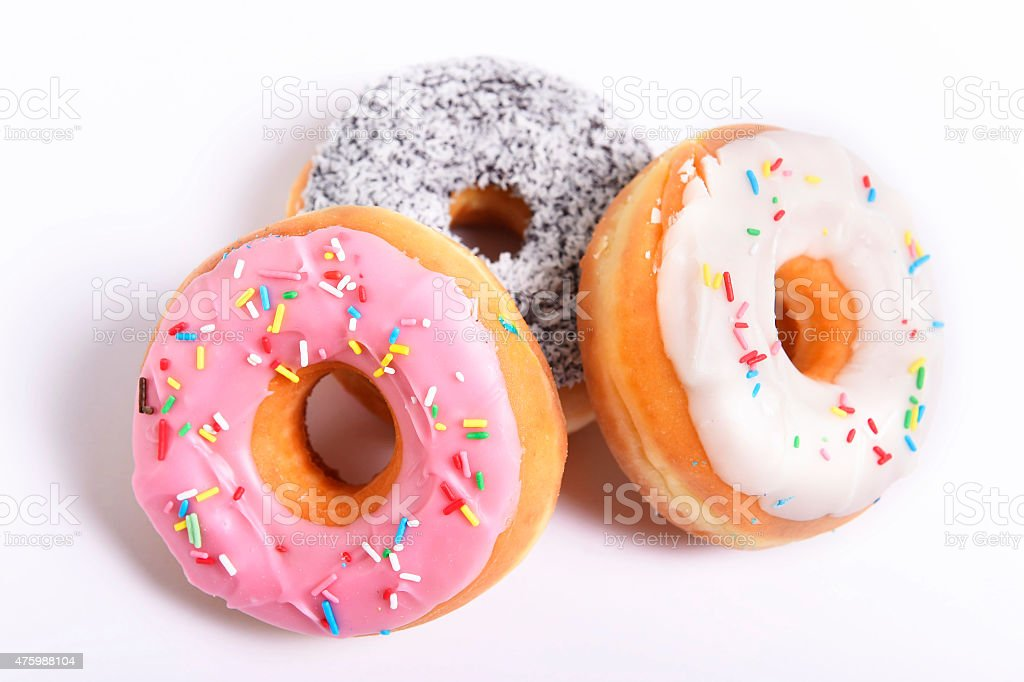 delicious empting donuts with different flavor toppings sugar sweet addiction stock photo