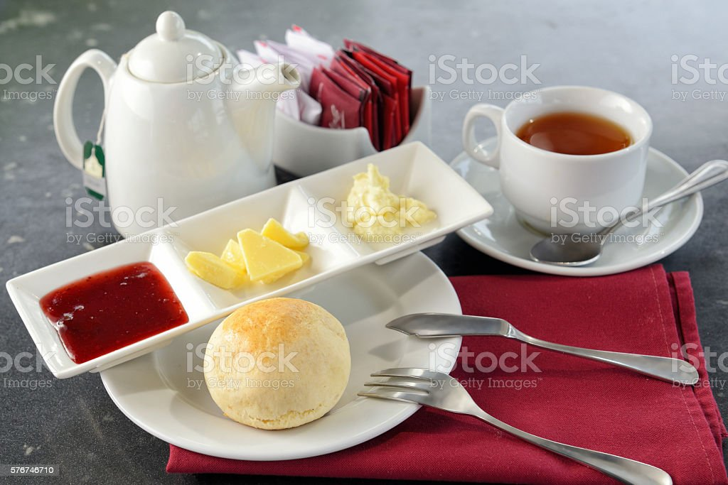 Delicious English scones with jam and butter stock photo