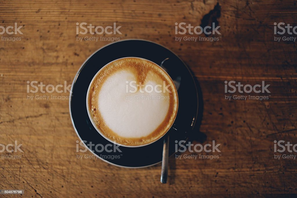 Delicious espresso on the wooden table stock photo