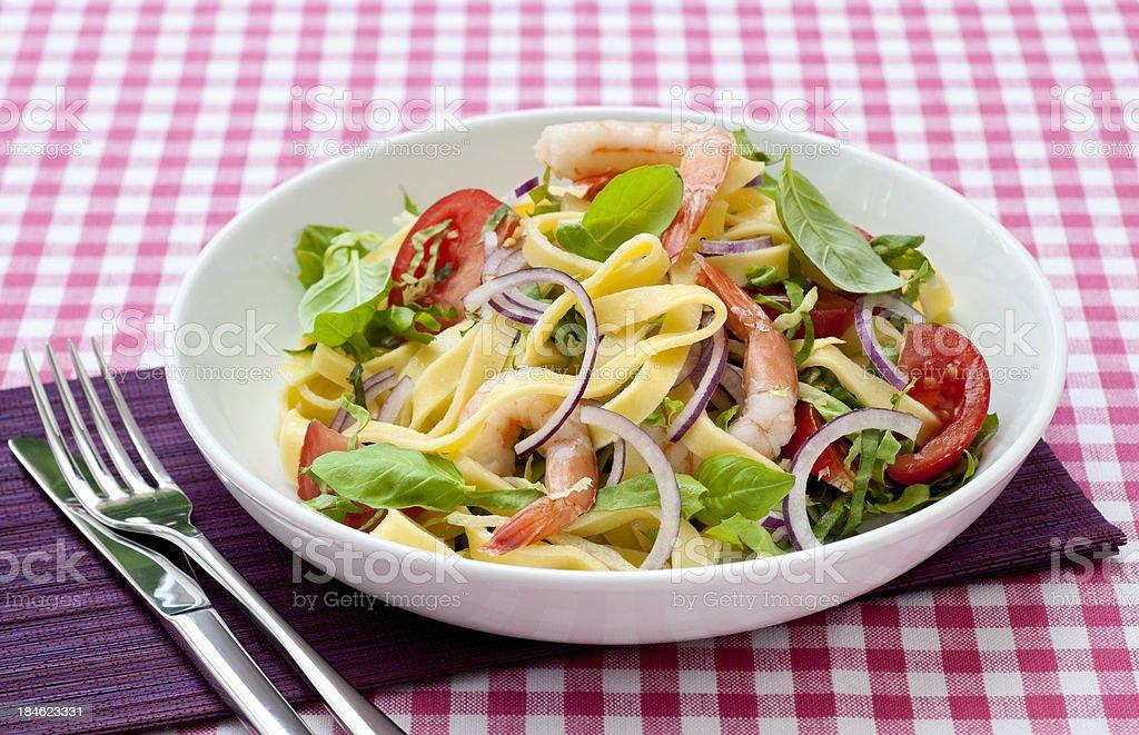 delicious fettuccine shrimps salad royalty-free stock photo