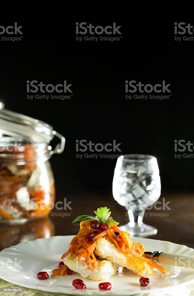 Delicious fillets of zander in a spicy marinade. Traditional Russian stock photo
