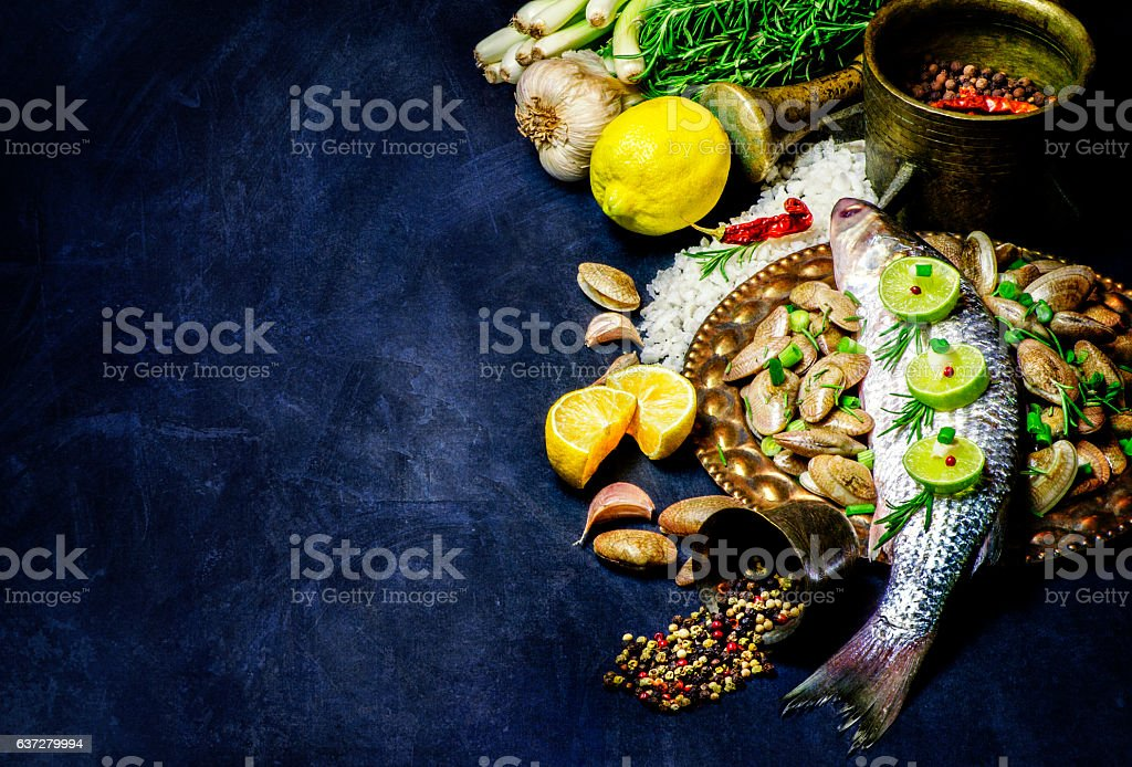 Delicious Fish with fresh ingredients. stock photo