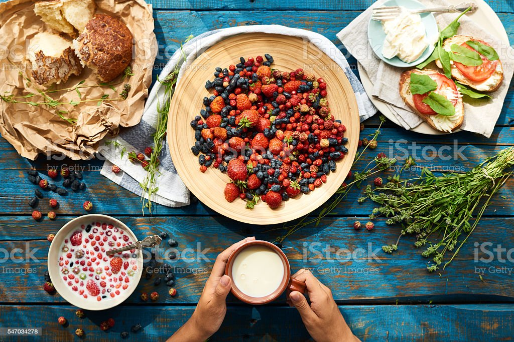 Delicious food for breakfast stock photo