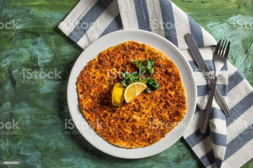 Delicious Food Lahmacun -Pita - Pizza stock photo