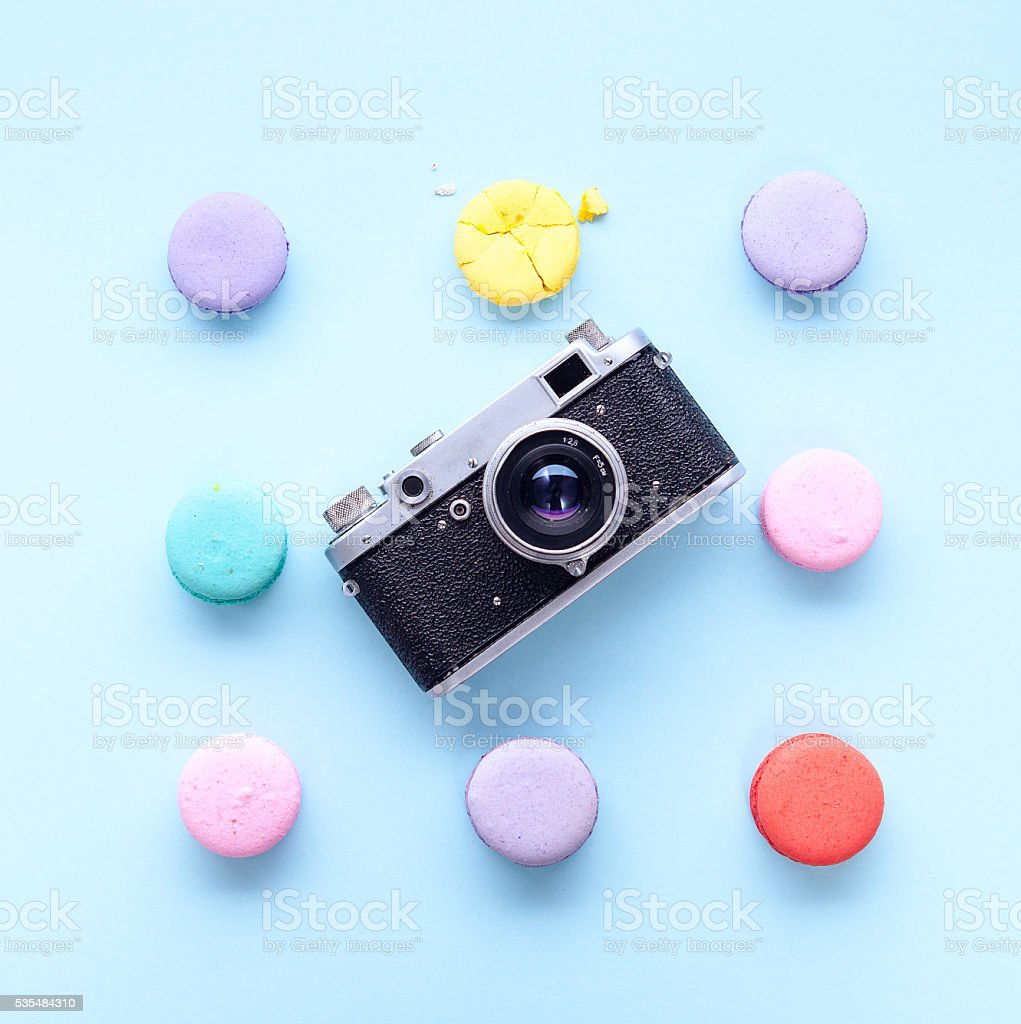 delicious French dessert macarons stock photo