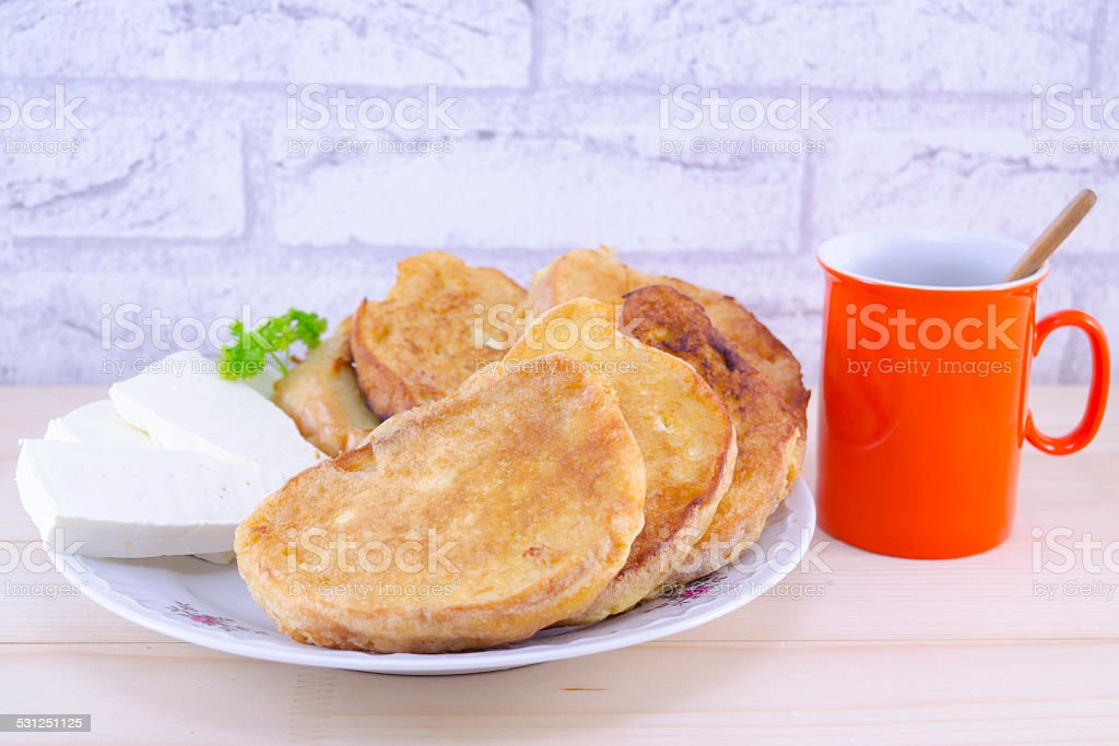 Delicious French toast with cheese and coffee royalty-free stock photo